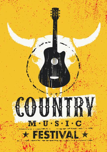 stockillustraties, clipart, cartoons en iconen met country music festival creatieve vector getextureerde poster concept met gitaar en koe schedel op grunge muur achtergrond - gitaar