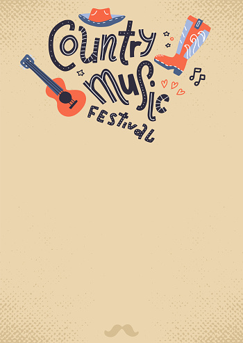 Country music festival empty form on old paper background with hand drawn lettering and illustrations .Vector poster with acoustic guitar and cowboy hat