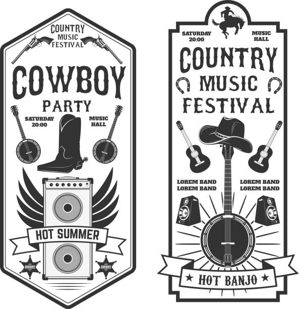 Country music festival flyer.  Cowboy party. Western music fest vector art illustration