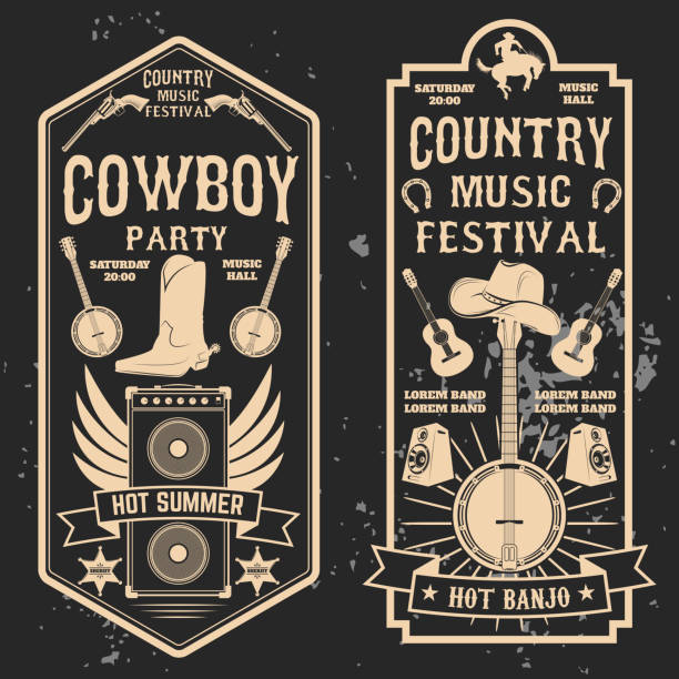 Country music festival flyer. vector art illustration