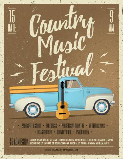 illustrazioni stock, clip art, cartoni animati e icone di tendenza di country music festival flyer. vintage styled vector illustration. - concerto