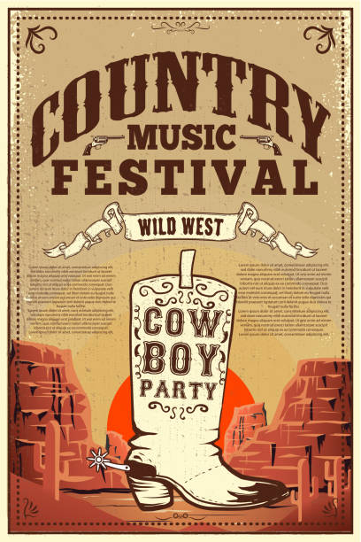 Country music festival poster. Party flyer with cowboy boots. Design element for poster, card, label, sign, card, banner. vector art illustration