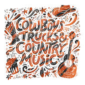 Country music festival retro poster vector template. Hand drawn grunge lettering. Cowboy fest banner, invitation concept. Acoustic guitar, beer, cowboy hat cliparts. Color western vintage illustration