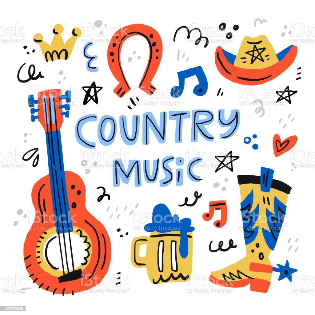 Countrymusikillustration Stock Vektor Art und mehr Bilder ...