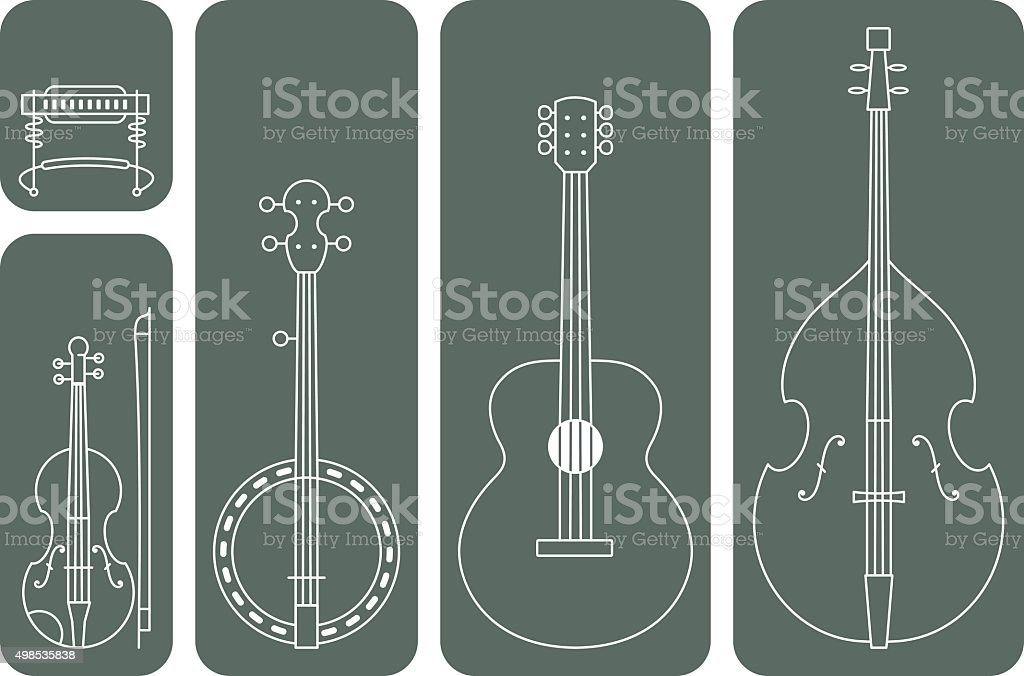 Country Music Instruments vector art illustration