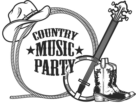 Country music party. Frame from rope with cowboy boots, hat and banjo in engraving style. Design element for poster, card, banner, sign. Vector illustration