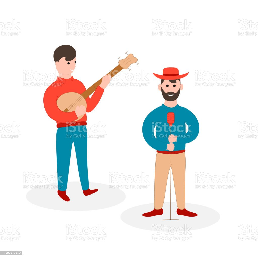 Country music player and singer. Bluegrass musical festival. Vector isolated illustration. Banjo musician. Live solo. vector art illustration