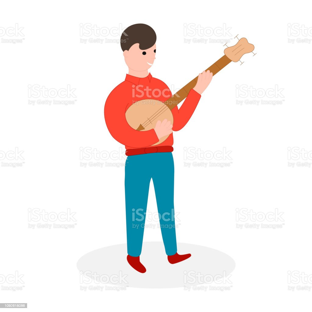 Country music player. Bluegrass musical festival. Vector isolated illustration. Banjo musician. vector art illustration