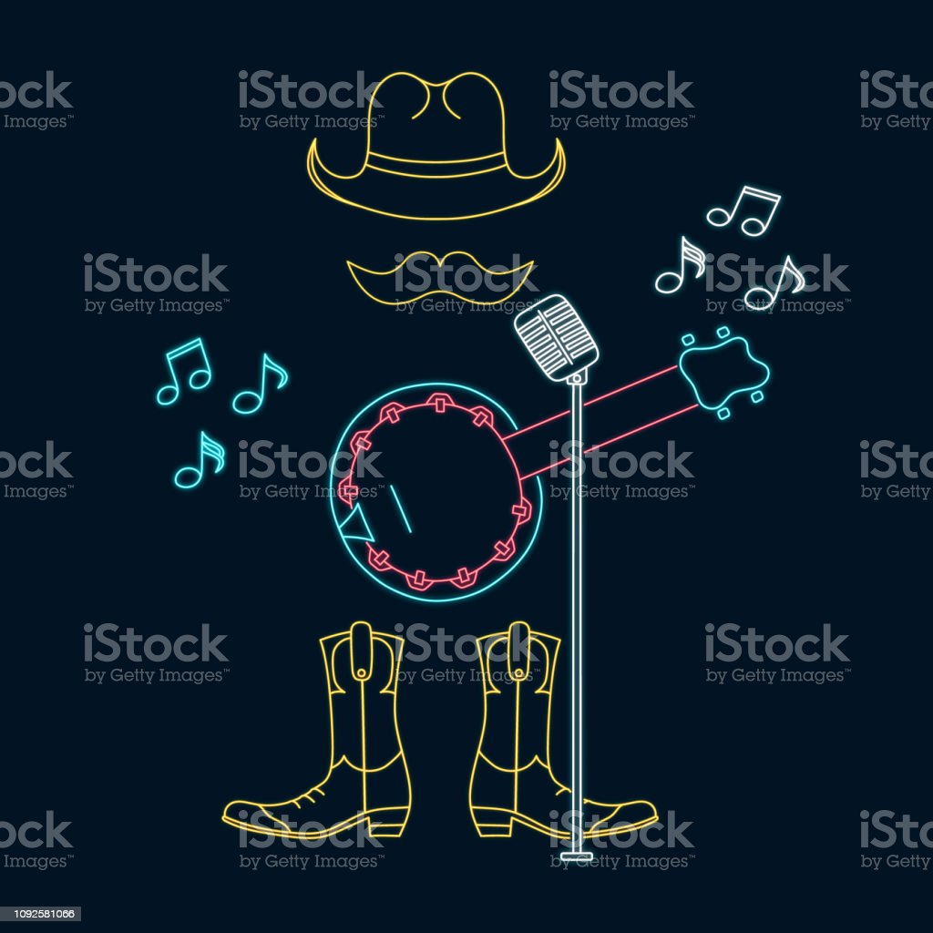 Country music player neon sign concept. Bluegrass musical festival led luminous emblem. Vector isolated illustration. Banjo musician symbol. vector art illustration
