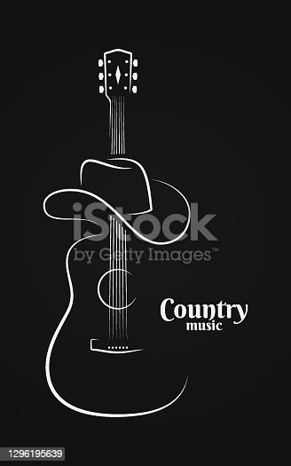 istock Country music sign. Cowboy hat with guitar live music on black background 1296195639