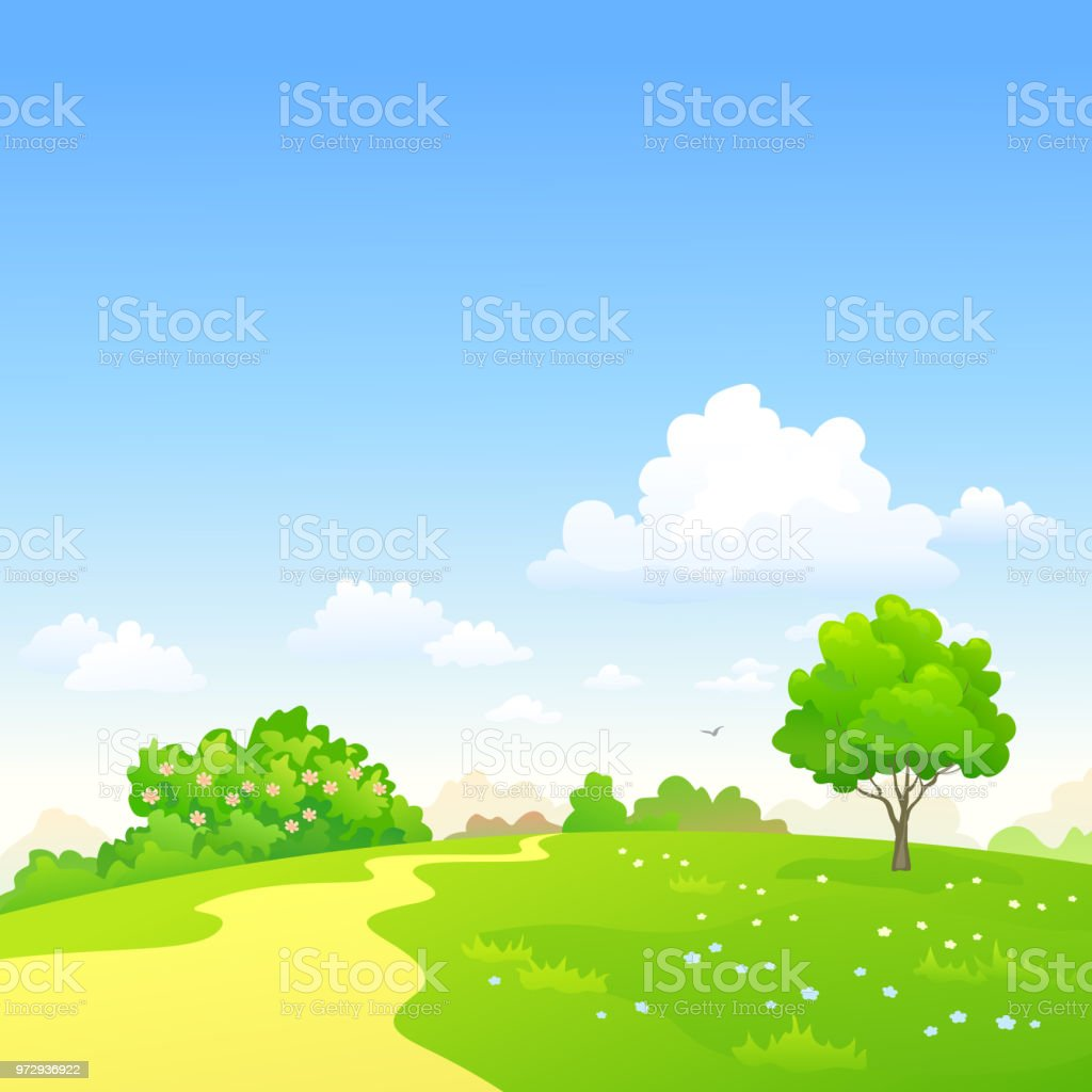 Vector cartoon illustration of a green spring landscape