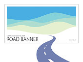 istock Country road curved highway vector perfect design illustration. The way to nature, hills and fields camping and travel theme. Can be used as a road banner or billboard with copy space for text. 1131591849