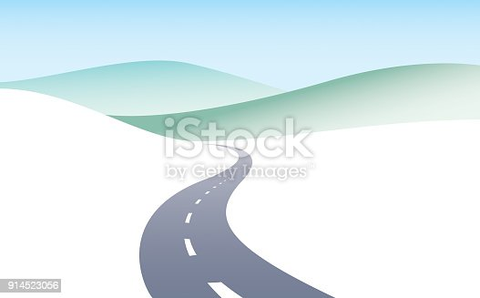 istock Country road curved highway vector perfect design illustration. The way to nature, hills and fields camping and travel theme. Can be used as a road banner or billboard with copy space for text. 914523056