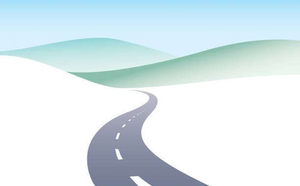 ilustrações de stock, clip art, desenhos animados e ícones de country road curved highway vector perfect design illustration. the way to nature, hills and fields camping and travel theme. can be used as a road banner or billboard with copy space for text. - road