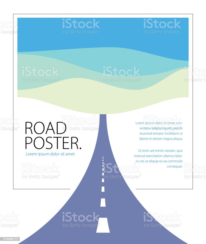 Country road curved highway vector perfect design illustration. The way to nature, hills and fields camping and travel theme. Can be used as a road banner or billboard with copy space for text. vector art illustration