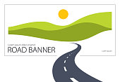 istock Country road curved highway vector perfect design illustration. The way to nature, hills and fields camping and travel theme. Can be used as a road banner or billboard with copy space for text. 936567530