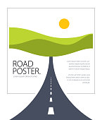 Country road highway vector perfect design illustration. The way to nature, hills and fields camping and travel theme. Can be used as a road banner or billboard with copy space for text.