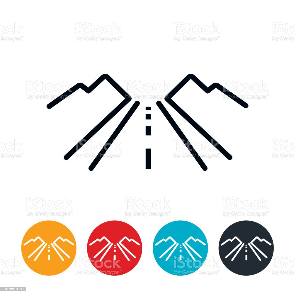 Country Road Icon vector art illustration