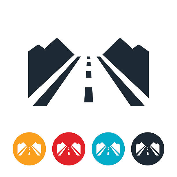 ilustraciones, imágenes clip art, dibujos animados e iconos de stock de icono de carretera de campo - íconos de caminos