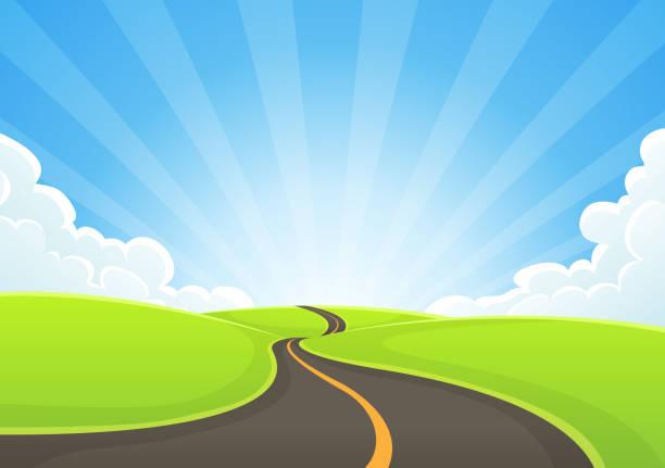 country road snaking z błękitnym niebem i promieniami słonecznymi - horyzont stock illustrations