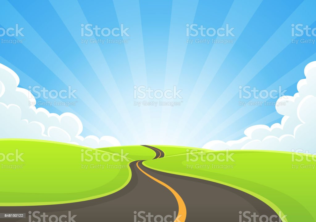 Country Road Snaking With Blue Sky And Sunbeams vector art illustration