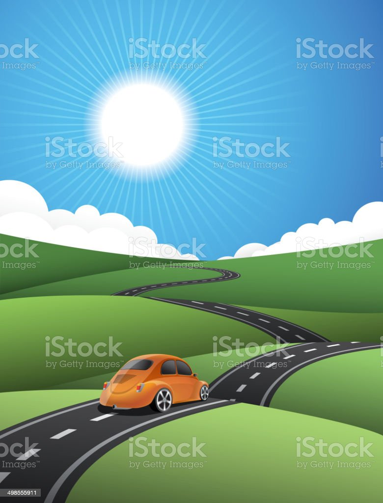 Country road vector art illustration