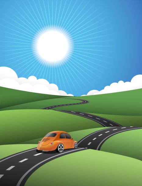 country road - landstraße stock-grafiken, -clipart, -cartoons und -symbole