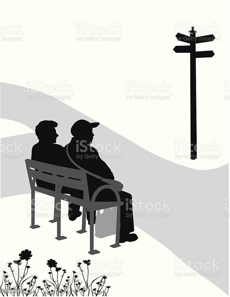 Country Road Vector Silhouette royalty-free stock vector art
