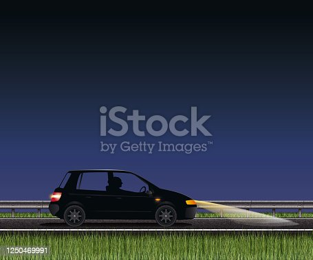 istock Country road with car, guard rail and grass 1250469991
