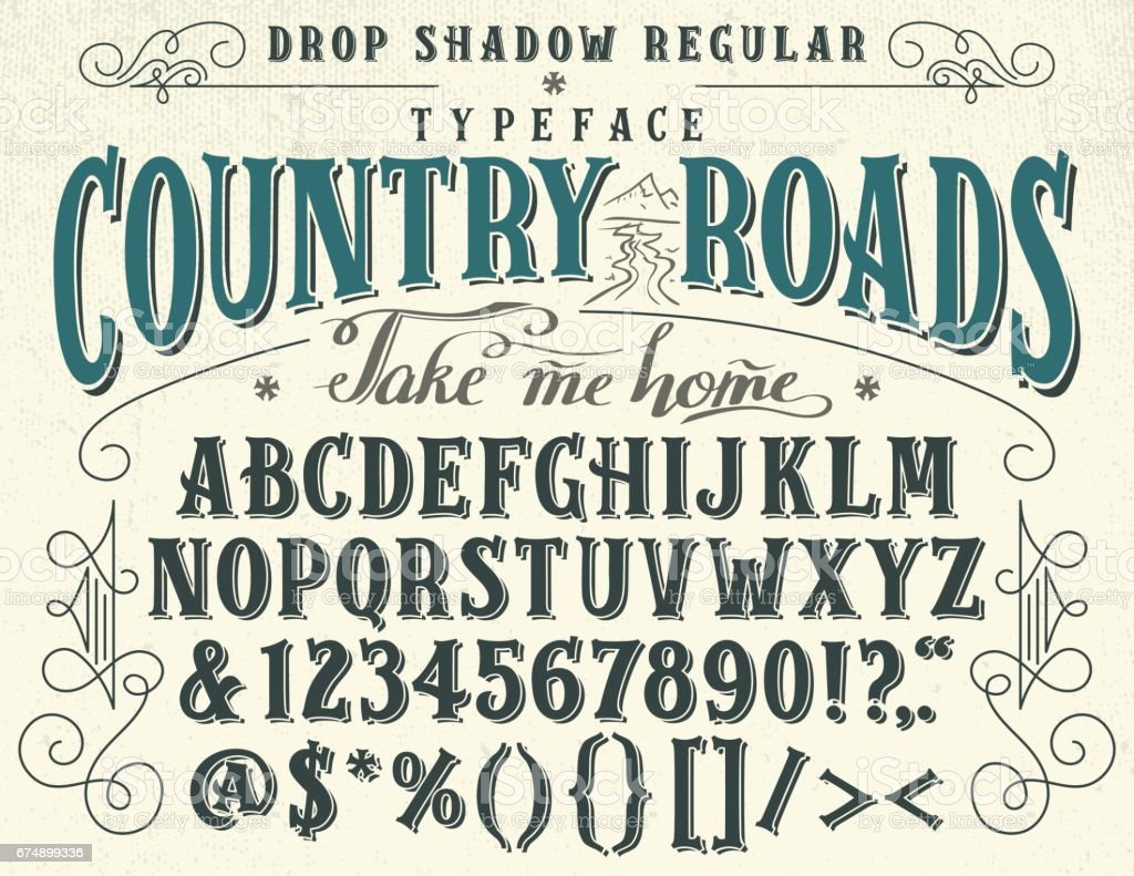 Country roads handcrafted retro typeface