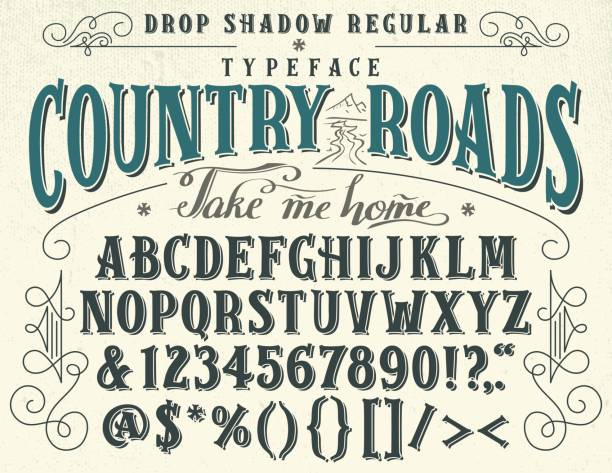 Country roads handcrafted retro typeface Country roads, take me home. Handcrafted retro drop shadow regular typeface. Vintage font design, handwritten alphabet southern usa illustrations stock illustrations