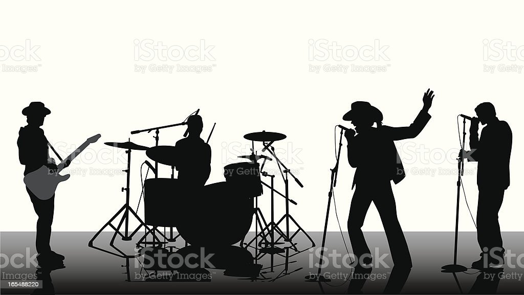 Country Rock Band Vector Silhouette vector art illustration