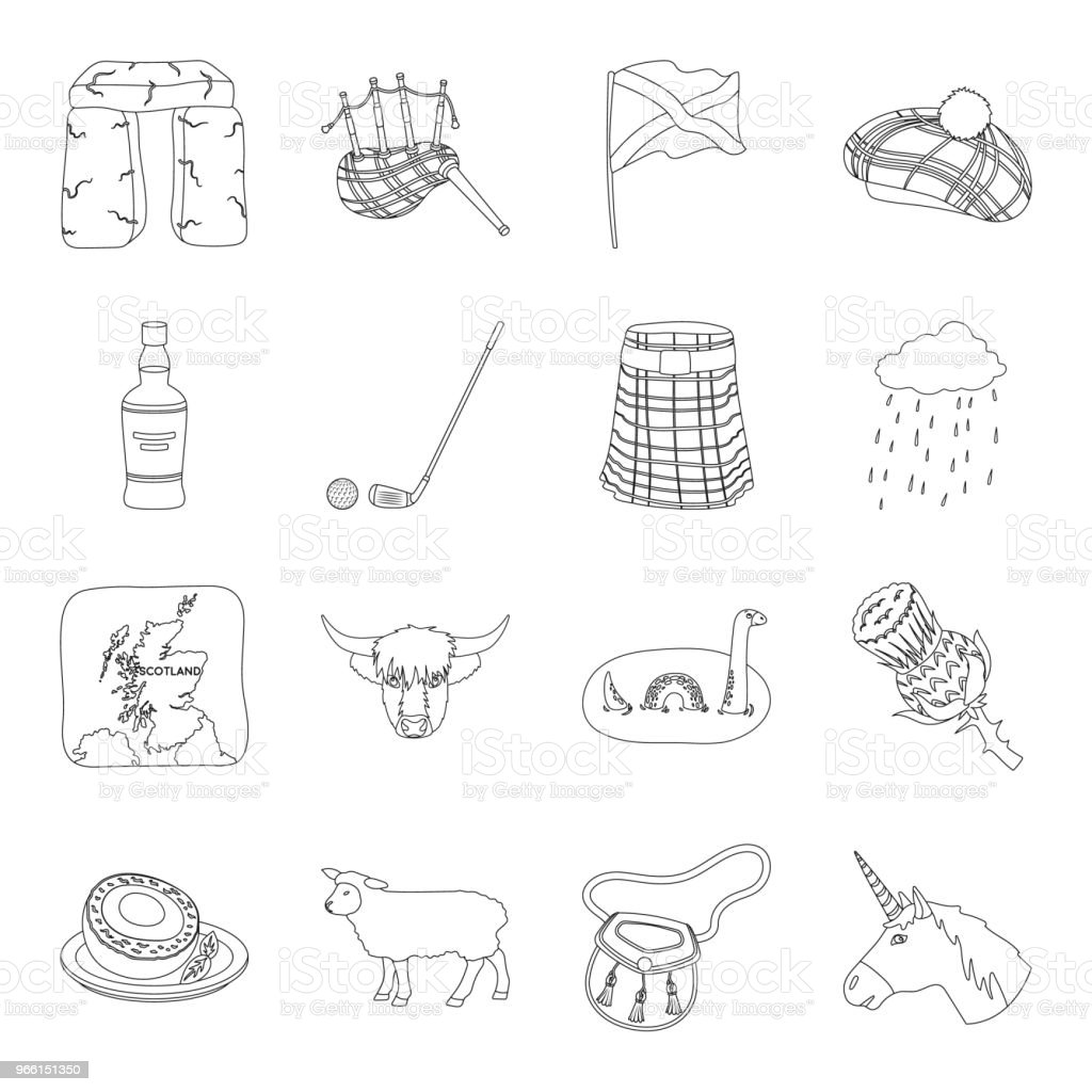 Country Scotland outline icons in set collection for design. Sightseeing, culture and tradition vector symbol stock web illustration. - Royalty-free Bagpipe stock vector