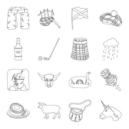 Land Schotland Overzicht Pictogrammen In Set Collectie Voor Design Sightseeing Vector Cultuur En Traditie Symbool Voorraad Web Illustratie Stockvectorkunst en meer beelden van Beroemde plaats