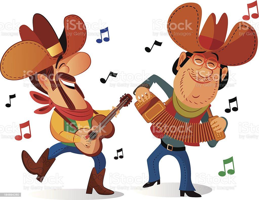 Country singer vector art illustration