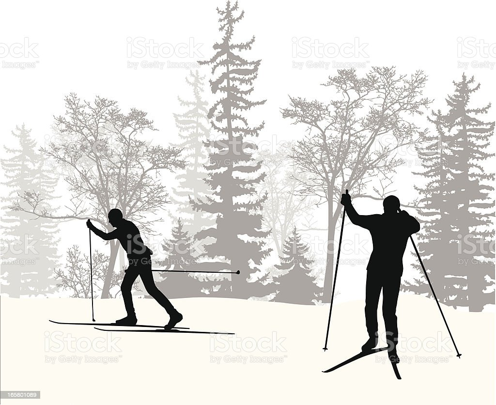 Country Skiing Vector Silhouette royalty-free stock vector art
