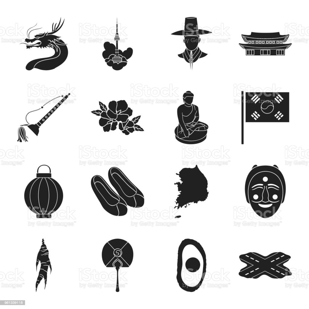 Country South Korea black icons in set collection for design.Travel and attraction vector symbol stock web illustration. vector art illustration