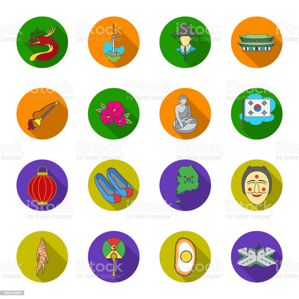 Country South Korea flat icons in set collection for design.Travel and attraction vector symbol stock web illustration. vector art illustration