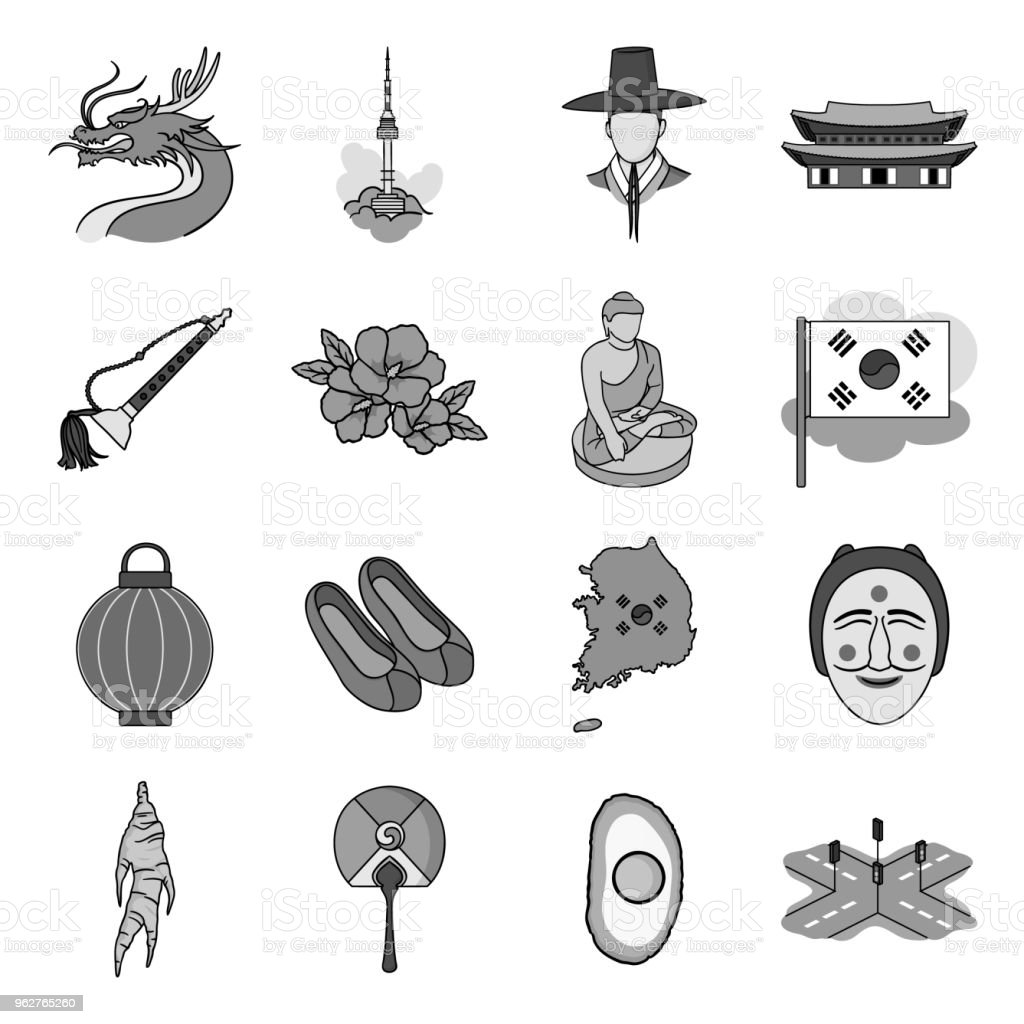 Country South Korea monochrome icons in set collection for design.Travel and attraction vector symbol stock web illustration. vector art illustration