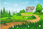 Farmhouse on green hill. Summer rural landscape.