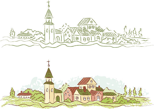 country town - köy stock illustrations