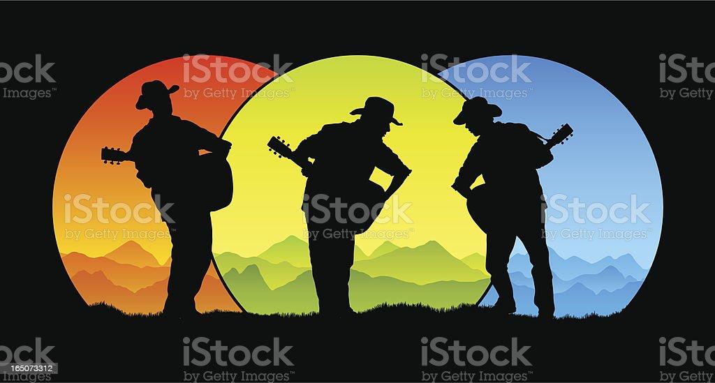 Country trio vector art illustration