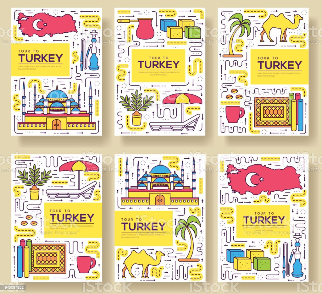Land Türkei Vektor Broschüre Karten Dünne Linie Set Vorlage Von ...