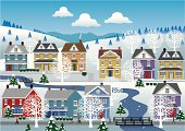 Houses in a country village during winter. People walking through the streets and by the river. Mountains and hills with trees and snow in background. Artwork on separate and editable layers. Download includes an AI8 EPS vector file and a high resolution JPEG file (min. 1900 x 2800 pixels).