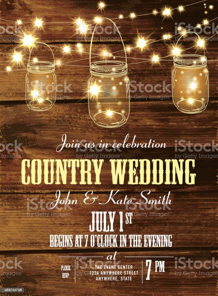Country wedding invitation design template jar and string lights vector art illustration
