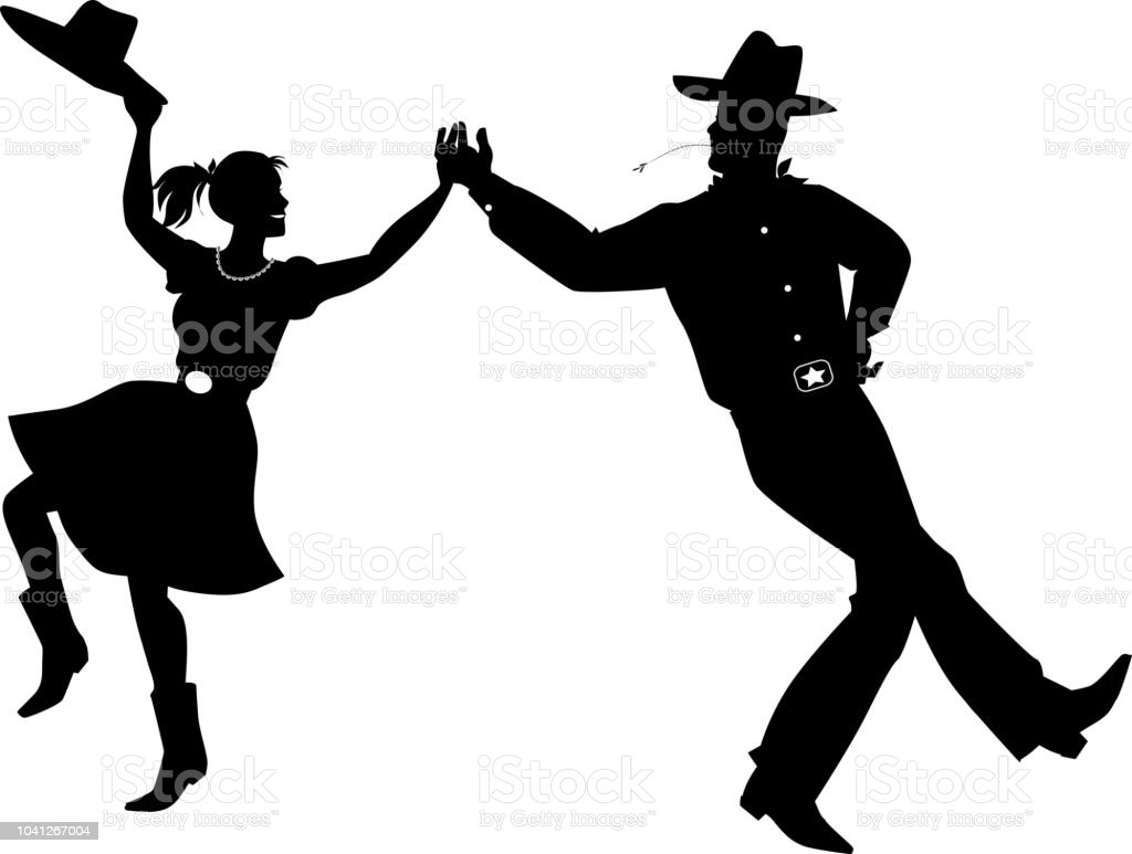 A couple dressed in traditional country western costumes dancing, EPS...