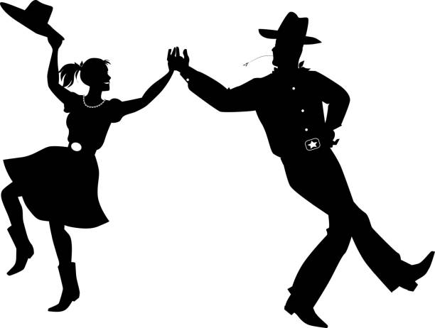 Country western dance silhouette vector art illustration