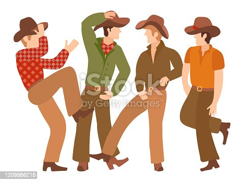 Country Western male dancers in traditional flat style cowboy clothes. Hat, trousers, belt with a hook, a plaid shirt, neck scarf. Vector illustration for Landing Page dance school, party, show