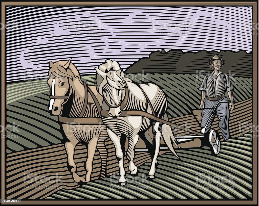 Countrylife and Farming Illustration in Woodcut Style vector art illustration