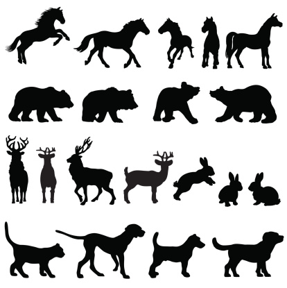 Countryside animal group silhouettes